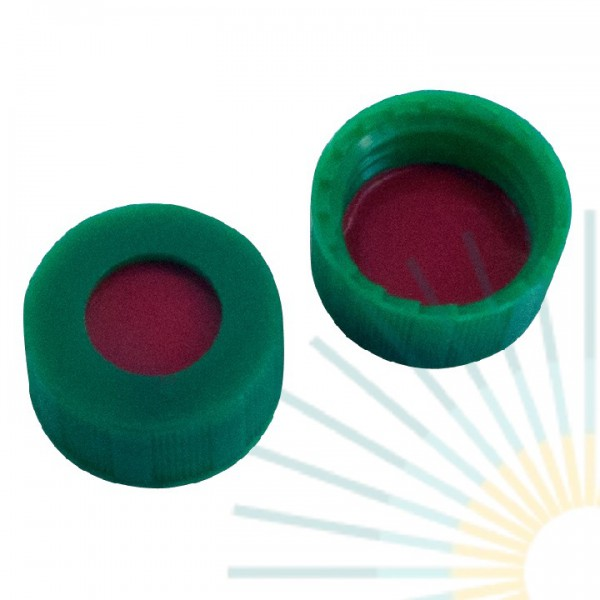 9mm PP Short Screw Cap, green, hole; PTFE red/Silicone white/PTFE red, 1.0mm