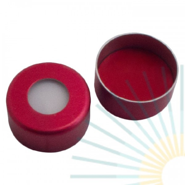 11mm Crimp Cap (Alu), red, hole; Silicone white/PTFE red, 1.3mm