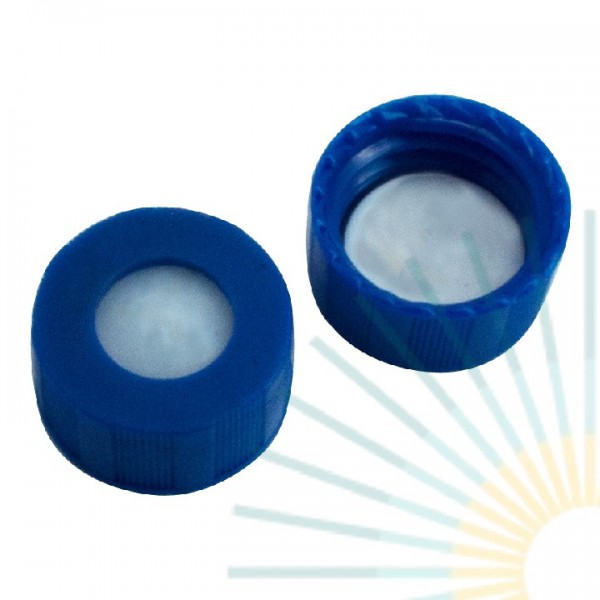 9mm PP Short Screw Cap, blue, hole; PTFE virginal, 0.2mm