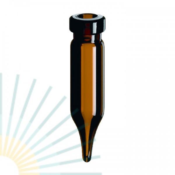 0,4ml Rollrand-Mikroflasche, 30 x 7mm, Braunglas, 10mm Spitze