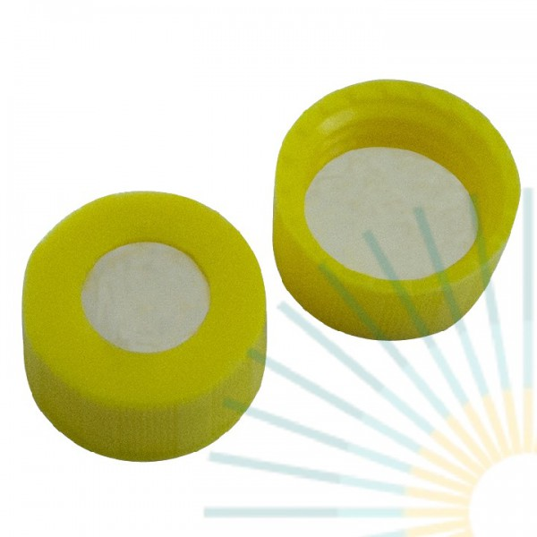 9mm PP Short Screw Cap, yellow, hole; PTFE virginal, 0.2mm