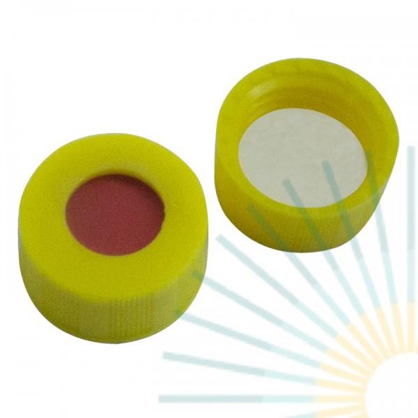 9mm PP Kurz-GW-Kappe, gelb, Loch; RedRubber / PTFE beige, 1,0mm (Agilent Qualität)