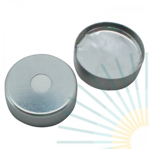 20mm Magnet. Crimp Cap, silver, 5mm hole; Silicone white/Alu. foil silver, 3.0mm
