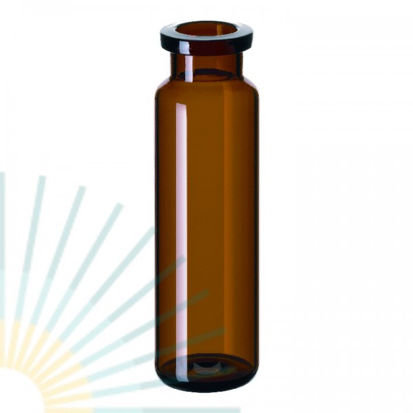 20ml HS-Vial, amber, Crimp Neck, long neck, rounded bottom
