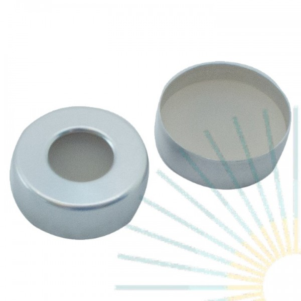 20mm Crimp Cap (Alu), blank, hole; Silicone nature/PTFE beige, 3.2mm