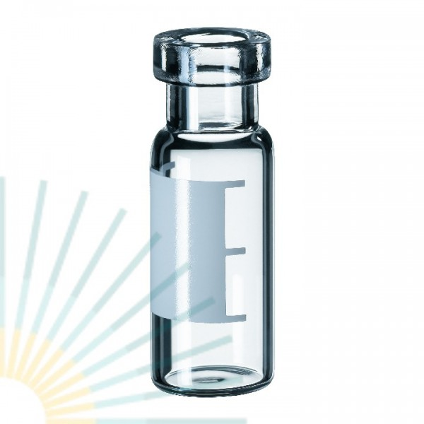1.5ml Crimp Neck Vial, clear, wide opening, label & filling lines