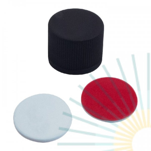 13mm PP Screw Cap, black, slitted; Silicone creme/PTFE red, 1.5mm