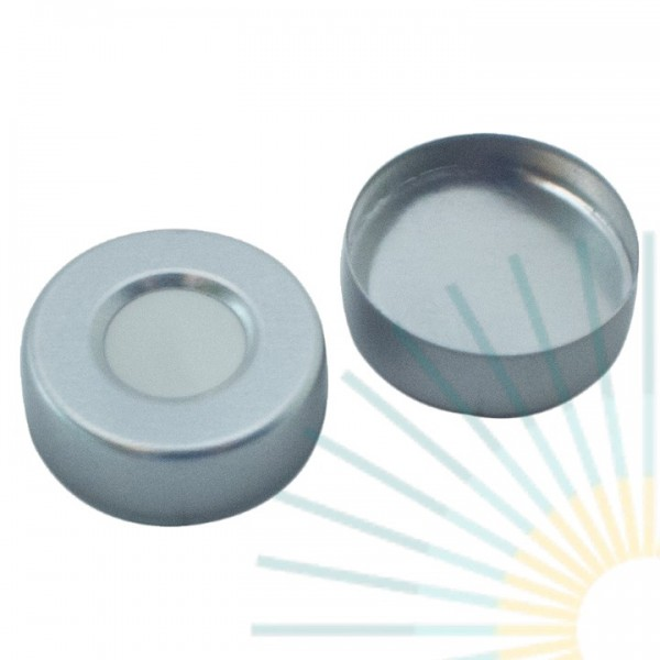 20mm Crimp Cap (Alu), blank, hole; Silicone white/Alu. foil silver, 3.0mm